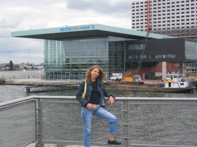 Svitlana Azarova in front of Muziekgebouw aan 't IJ, Amsterdam